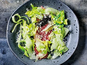 Wagyu beef, caviar, celery branch and horseradish.