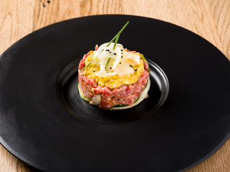 Wagyu tartare with ginger, shallots and oyster sauce