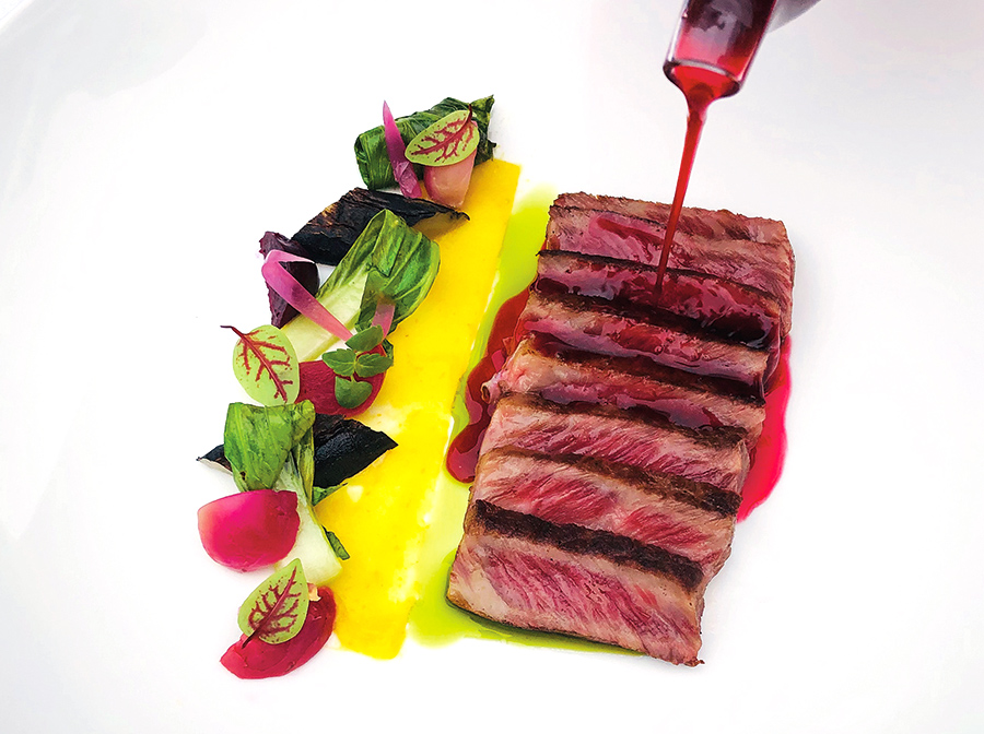 Grilled wagyu, thinly sliced, winter vegetables, orange condiment and pearl beetroot broth with celery oil