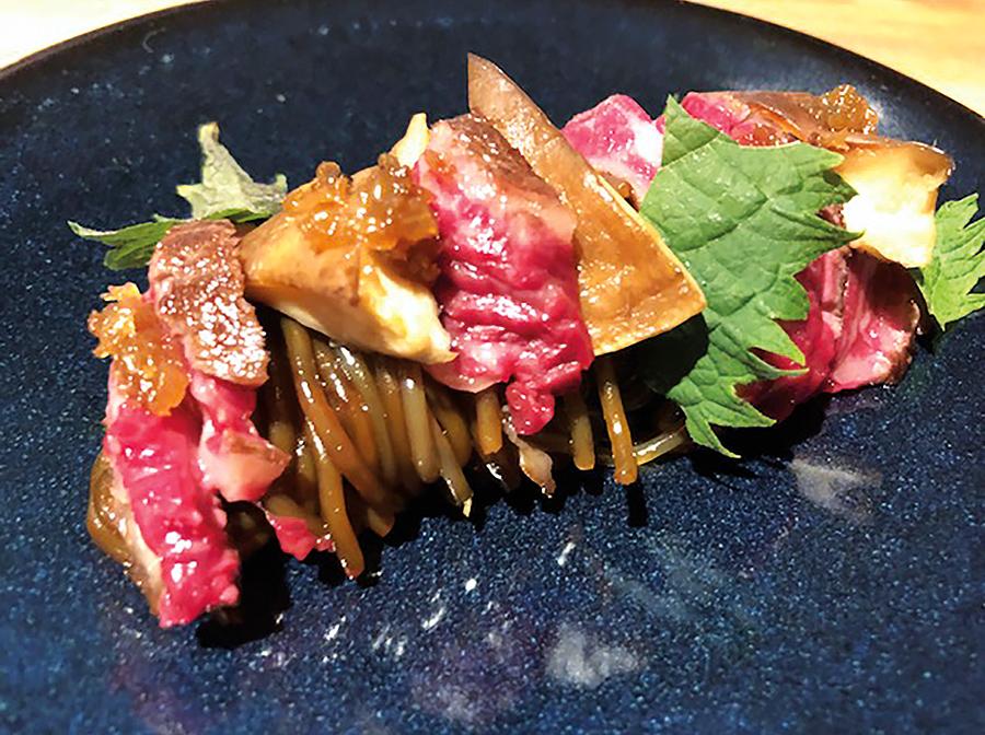 Sweet potato spaghetti/ shiitake mushrooms & Wagyu rib steak