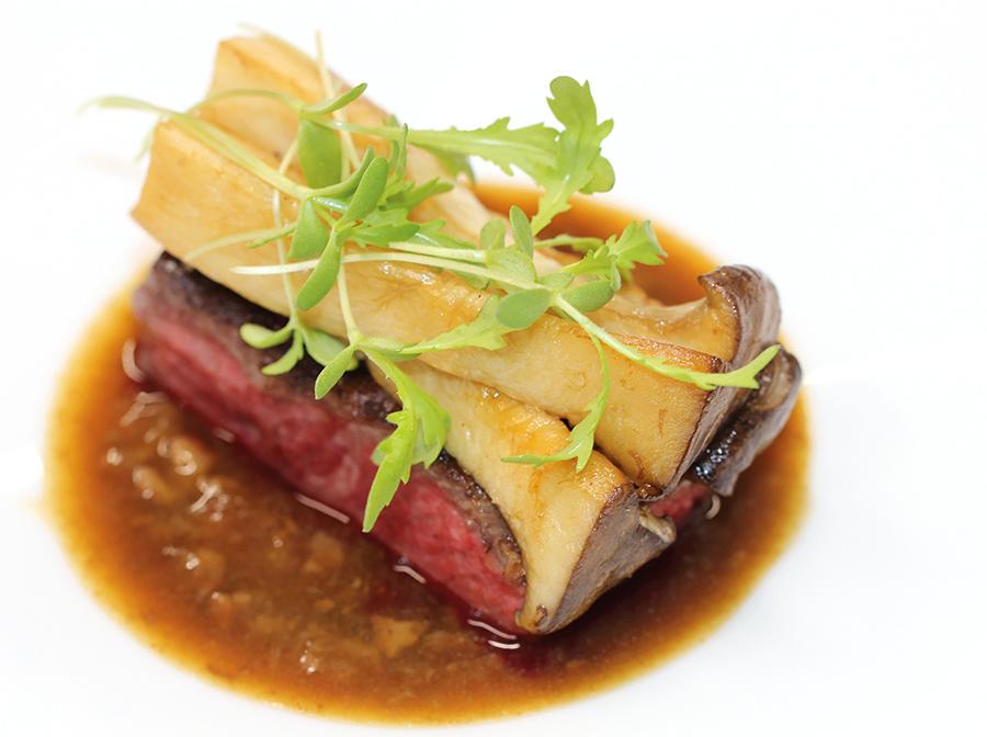 Grilled Beef Chuck with Binchotan, Collagen Sauce