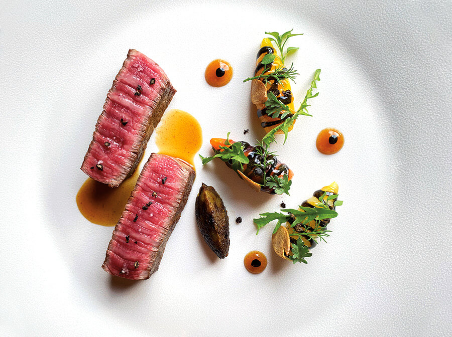 Japanese wagyu beef, served with garden carrots, candied in black garlic with a dulse Bourguignon sauce