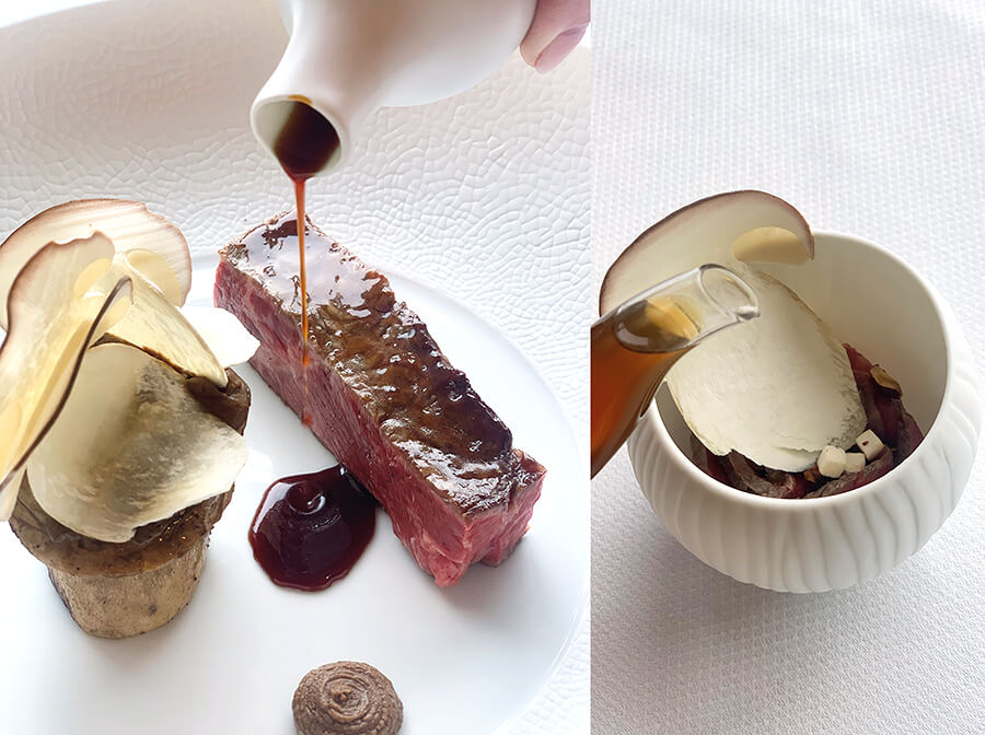 Wagyu beef, served with roasted mushrooms and roasted hazelnut pulp