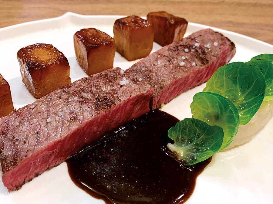 Wagyu beef, served with honey-lacquered Jerusalem artichokes and Brussels sprouts cooked in sesame oil