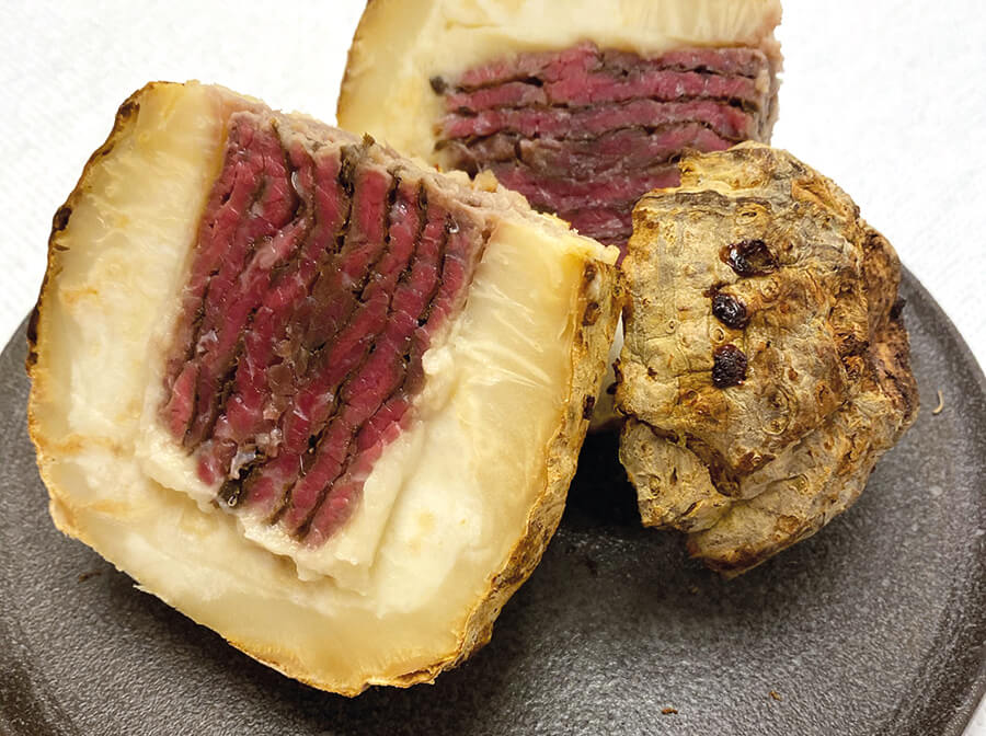 Wagyu round cut rolled and roasted in celery