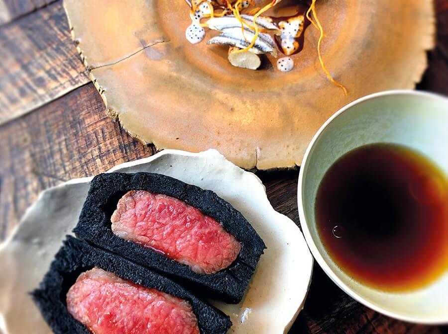 Wagyu beef bao served with gyosho, sardines, celery and broth